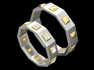 Белое золото со вставками из желтого золота и бриллиантов