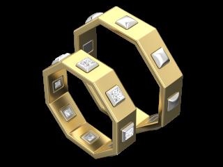 Желтое золото  со вставками из белого золота и бриллиантов